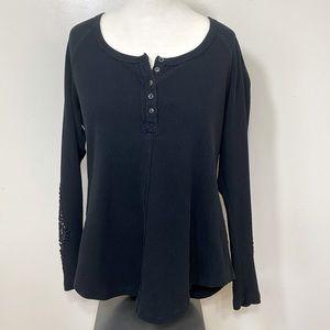 Temperance Black long Sleeve Waffle Shirt With crochet Cutouts On Sleeves XL
